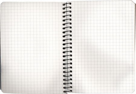 Open empty notebook on white cut out with clipping path photo