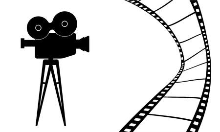 Cinematografie camera en film film vector illustratie Stock Illustratie