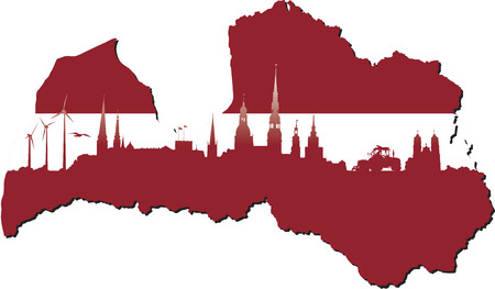 Latvia map in flag colors and symbols of business and history of state