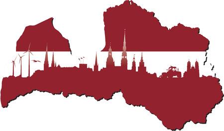 Letland kaart in vlag kleuren en symbolen van het bedrijfsleven en de geschiedenis van de staat