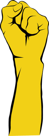 arms raised: Raised fist or clenched fist as solidarity, revolt, unity, strength, uprising activity symbol Illustration