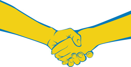 Two adults shaking hands symbolizing meeting, greeting, parting, offering congratulations, expressing gratitude, or completing an agreement  Vector