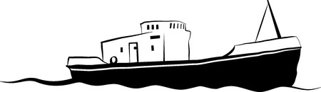Vector drawing of small old fishing boat Vector