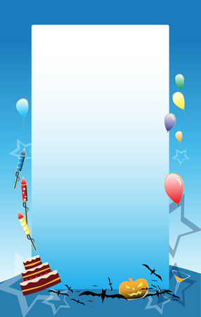 Blue vectrot Party background with baloons, cake and other party symbols Vector