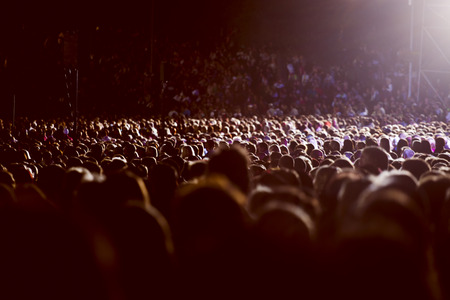 Large crowd of people watching concert or sport event