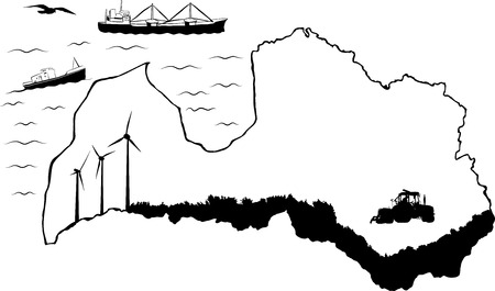 Map of Latvia with baltic sea. Fishing and cargo ships in water. Tractor and wind turbines on map Vector