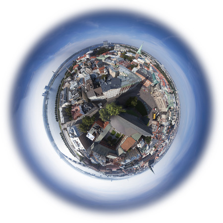 Riga old town skyline view from above, 360 degree mini planet photo