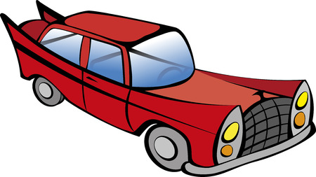 oldtimer: Red retro car vector illustration. EPS10 file with transparency