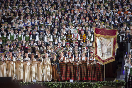 RIGA, LATVIA - July 7, 2013: The Latvian National Song and Dance Festival Grand Finale concert