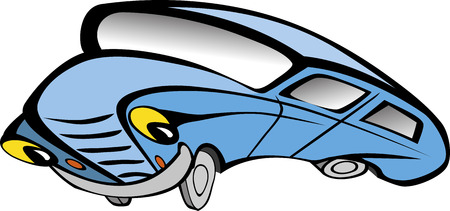 smiley face car: Funny old blue car cartoon. Vector illustration Illustration