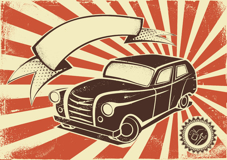 Vintage car advertisement poster. Vector template