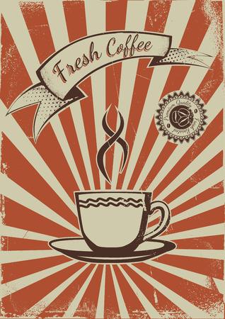 Vintage Coffee shop advertisement poster. EPS10 Vector template Vector