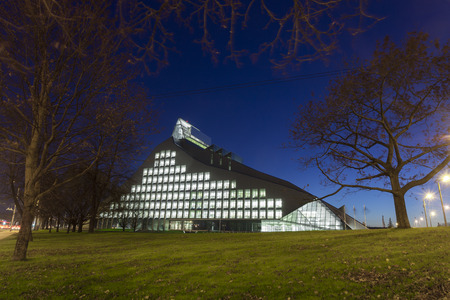 presidency: RIGA, LATVIA - OCTOBER 29, 2014: New Building of National Library of Latvia, known also as the Castle of Light will be the main venue in Riga for the Latvian Presidency of the Council of the European Union.