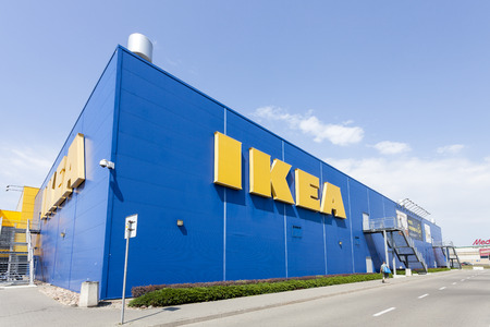 exterior house: Warsaw, Poland - August 03, 2014: Building of the IKEA store in Warsaw. IKEA was founded in Sweden and is the worlds largest furniture retailer. Editorial