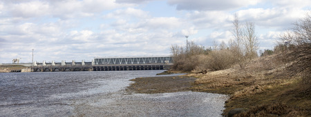 powerhouse: Panorama shot of Dam of hydroelectric power plant Editorial