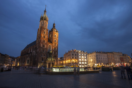 main market: Church of St. Mary in Krakow Main Market Square during Twilight time