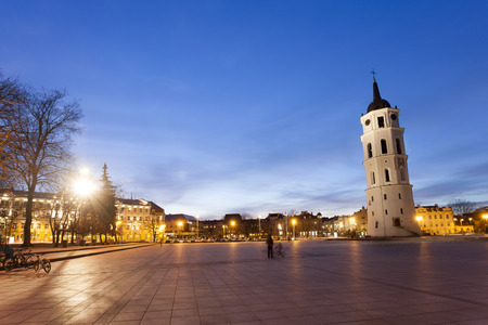 oldtown: The Cathedral Square in central Vilnius during twilight time Lithuania Europe