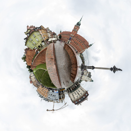 Tiny planet of the Castle Square in Old Town of Warsaw Poland