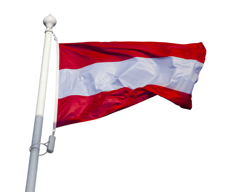 Waving flag of Austria isolated on white background with clipping path photo