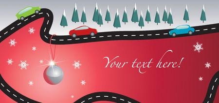cars on road: Christmas card with road and cars