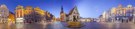 Night Skyline of Poznan Old Market Square in western Poland. Panoramic montage from 17 HDR images