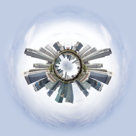 overpopulation: Overpopulated Tiny little planet with skyscrapers on core and ohter world under it. Stock Photo