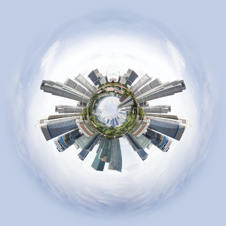 overpopulated: Overpopulated Tiny little planet with skyscrapers on core and ohter world under it. Stock Photo