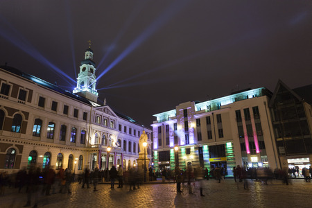 beaming: RIGA, LATVIA - NOVEMBER 16, 2014: The light festival Staro Riga (Beaming Riga) celebrating 96th of independence day of Republic of Latvia.
