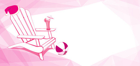adirondack chair: Adirondack Beach chair with Santa Claus hat and Drink. White and Pink vector illustration with place for your copy text.
