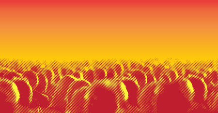 concert: Large crowd of people watching concert or sport event. Vector illustration with halftone screen line effect Illustration