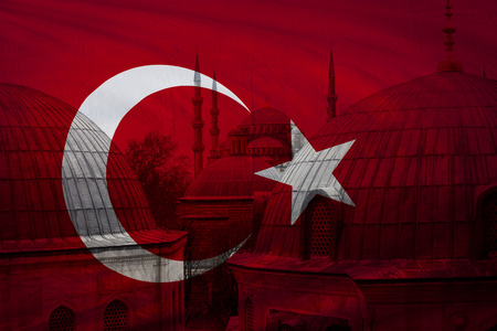 turkish flag: Turkish flag with view of Blue mosque in Istanbul seen in background