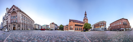 360 degree panoramic Skyline view of Riga old town Dome Square During Dawn time. Montage from 47 HDR images Stock Photo
