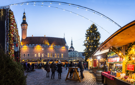 street market: Traditional Christmas market in Tallinn old town. HDR image. Long time exposure with motion blur.