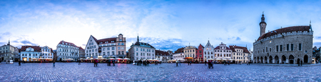 town hall square: Night Skyline of Tallinn Town Hall Square or Old Market Square, Estonia. Panoramic montage from 24 HDR images