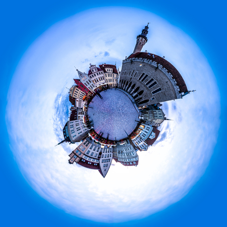 town hall square: Evening view of Tallinn Town Hall Square or Old Market Square, Estonia. 360 degree miniplanet