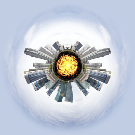 overpopulation: Overpopulated Tiny little planet with skyscrapers and magma core under surface. Stock Photo