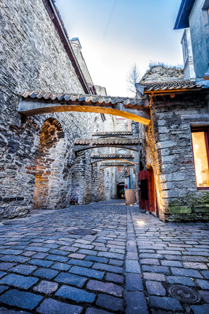 Medieval street  St. Catherines Passage in Tallinn old town, Estonia
