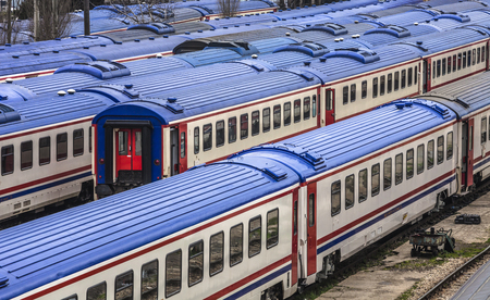 kadikoy: ISTANBUL, TURKEY - MARCH 20, 2011: Trains with blue roofs waiting in siding tracks at Haydarpasa station, Istanbul