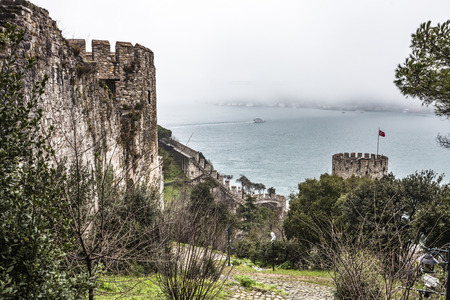 rumeli: ISTANBUL, TURKEY - MARCH 20, 2011: Roumeli Hissar Castle fortress in European part of Istanbul, Turkey