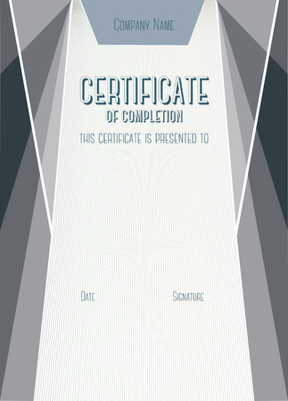 completion: Dark Vertical Modern Certificate of completion. A4 size with 5 mm bleed