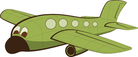 jet airplane: Funny Jet passenger airplane with face. illustration.
