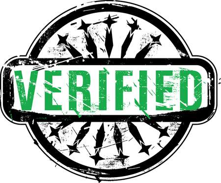 permission granted: Verified Rubber stamp with grunge texture for your design. See other rubber stamps in my portfolio.
