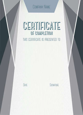 bleed: Dark Vertical Modern Certificate of completion. A4 size with 5 mm bleed
