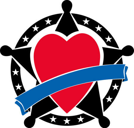 sherif: Sherifs badge with heart and blue ribbon over it.