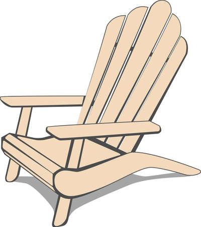 Beige Adirondack Beach chair. illustration.