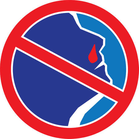nose drops: Red stop sign with Man with Bleeding Nose. illustration