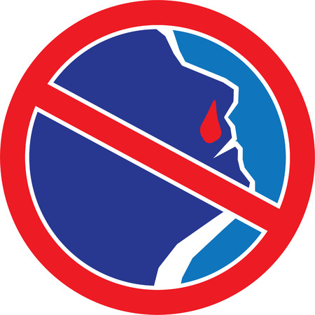 nasal drops: Red stop sign with Man with Bleeding Nose. illustration