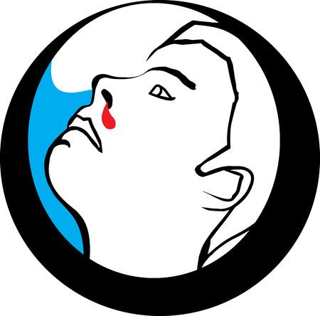 bleeding: illustration of Man with Bleeding Nose
