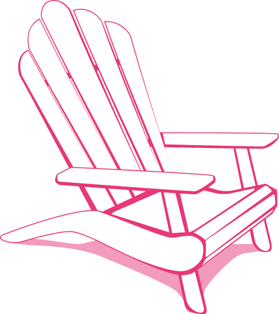 Adirondack Beach chair. White and Pink illustration. Stok Fotoğraf