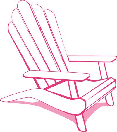 cadeira: Cadeira de praia Adirondack. Ilustração branca e rosa.